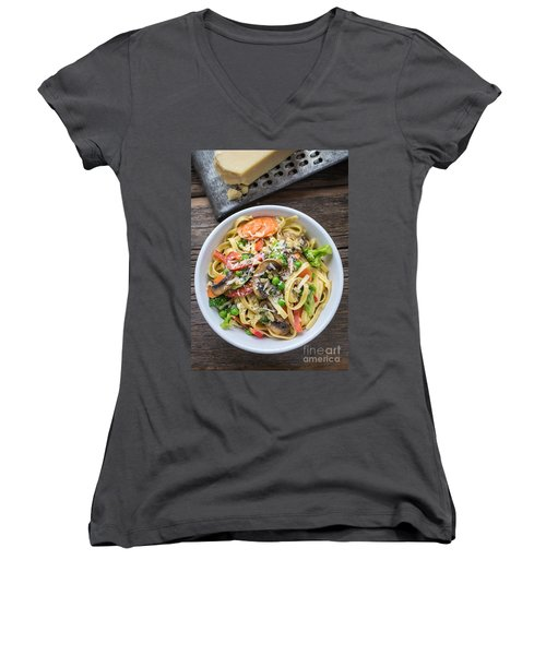Pasta Primavera Dish Women's V-Neck T-Shirt (Junior Cut) by Edward Fielding