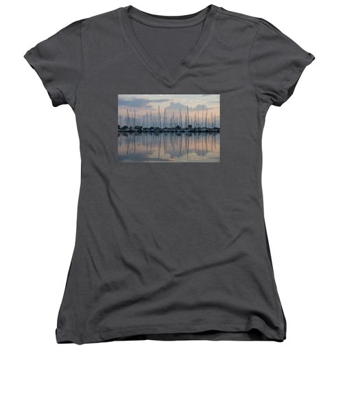 Pastel Sailboats Reflections At Dusk Women's V-Neck