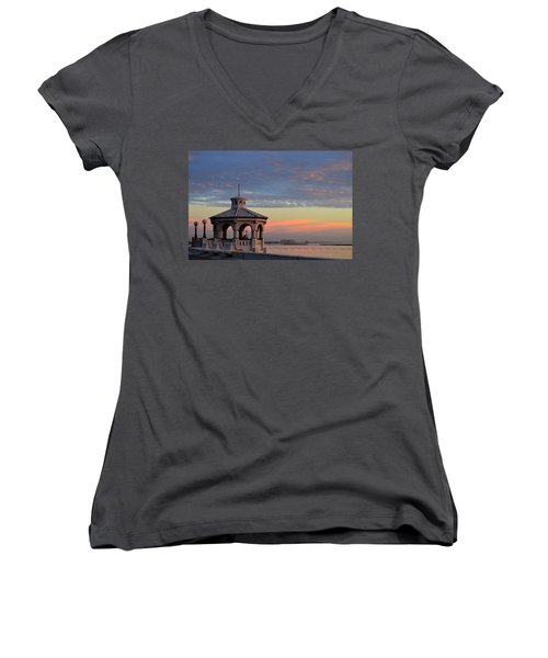 Pastel Sky Women's V-Neck T-Shirt (Junior Cut) by Leticia Latocki