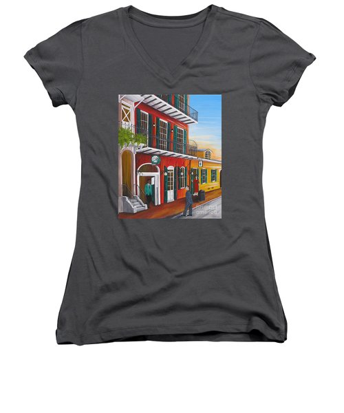 Pat O's Courtyard Entrance Women's V-Neck (Athletic Fit)