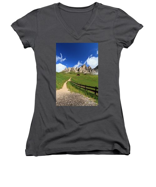 Women's V-Neck T-Shirt (Junior Cut) featuring the photograph path in Gardena pass by Antonio Scarpi