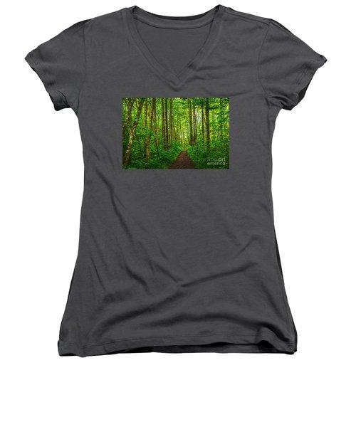 Path In Green Women's V-Neck T-Shirt (Junior Cut) by Sonya Lang