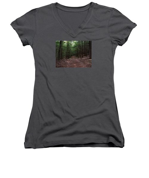 Path In The Woods Women's V-Neck T-Shirt (Junior Cut) by Catherine Gagne