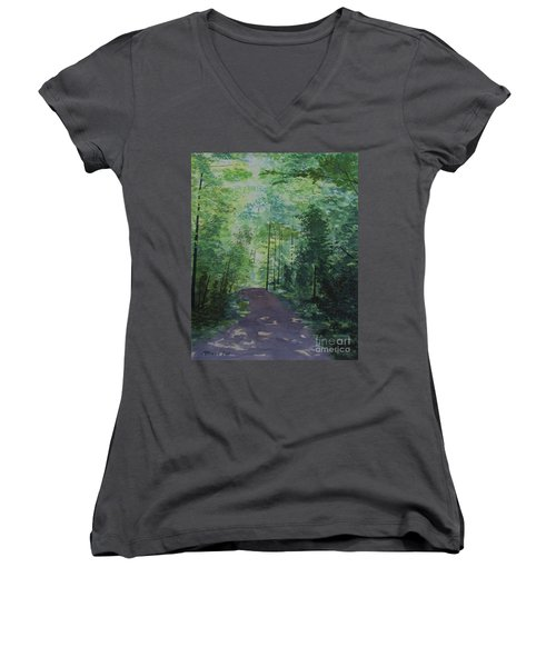 Path To The River Women's V-Neck T-Shirt (Junior Cut) by Martin Howard