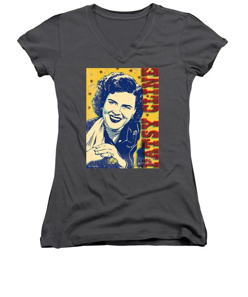 Patsy Cline Pop Art Women's V-Neck T-Shirt (Junior Cut) by Jim Zahniser