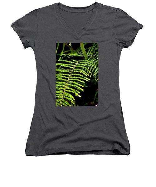 Women's V-Neck T-Shirt (Junior Cut) featuring the photograph Pauched Coral Fern by Miroslava Jurcik