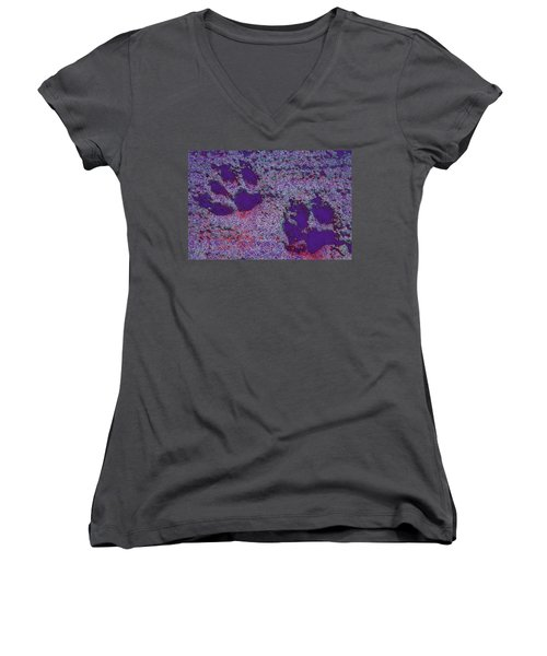 Paw Prints In Purple With Red Glow Women's V-Neck (Athletic Fit)