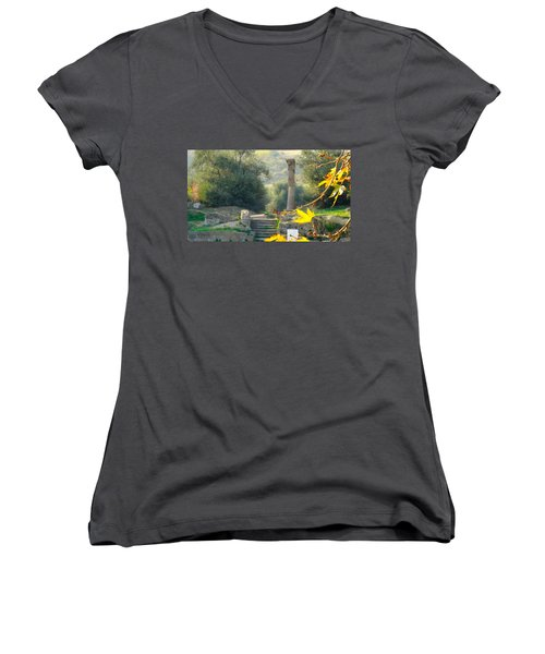 Women's V-Neck T-Shirt (Junior Cut) featuring the photograph Peace At Asclepion by Alan Lakin