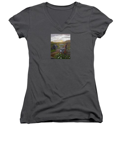 Women's V-Neck T-Shirt (Junior Cut) featuring the painting Peace In The Valley by Sheri Keith
