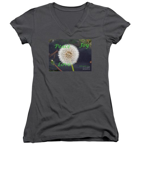 Women's V-Neck T-Shirt (Junior Cut) featuring the photograph Peace Joy And Love by Robin Coaker