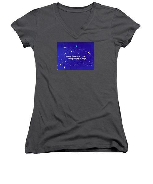 Peace On Earth Card Women's V-Neck T-Shirt