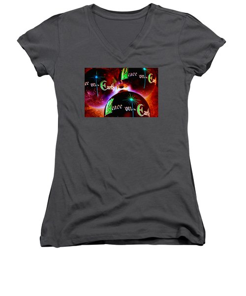 Women's V-Neck T-Shirt (Junior Cut) featuring the photograph Antique Peace On Earth Christmas Ornaments by Vizual Studio