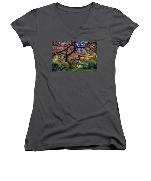 Peaceful Autumn Morning Women's V-Neck (Athletic Fit)