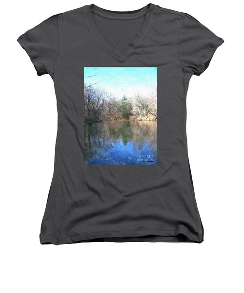 Women's V-Neck T-Shirt (Junior Cut) featuring the painting Peaceful Retreat 2 by Sara  Raber