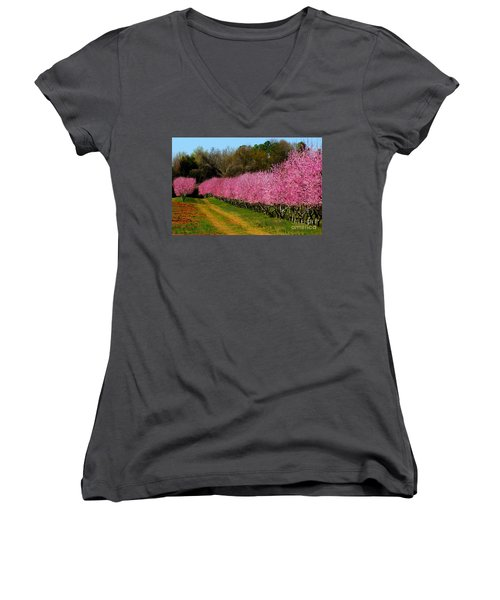 Women's V-Neck T-Shirt (Junior Cut) featuring the photograph Peach Orchard In Carolina by Lydia Holly