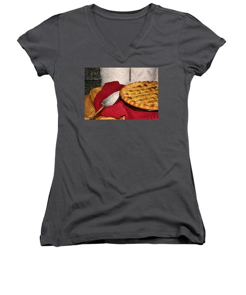 Peach Pie Women's V-Neck T-Shirt (Junior Cut) by Kristin Elmquist