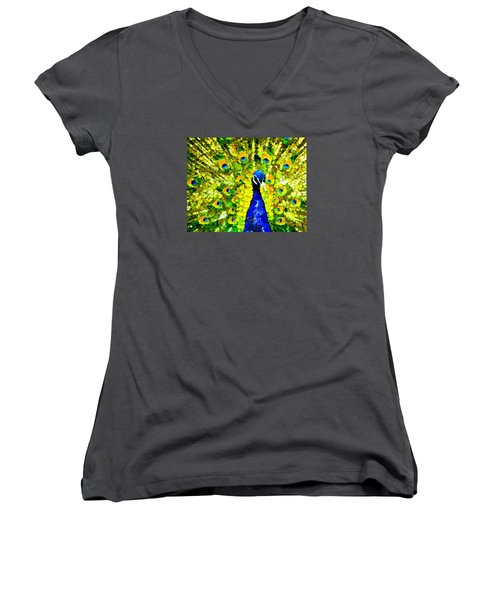 Peacock Abstract Realism Women's V-Neck