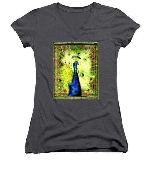 Women's V-Neck T-Shirt (Junior Cut) featuring the drawing Peacock by Daniel Janda