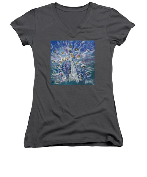 Peacock Dressed In White Women's V-Neck (Athletic Fit)