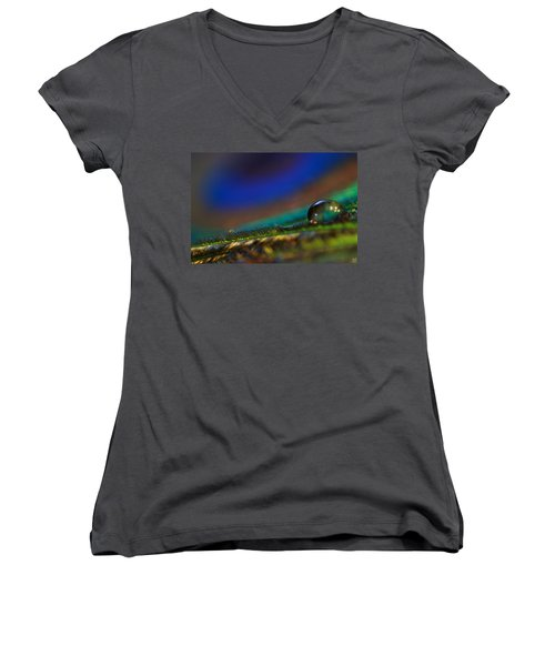 Peacock Drop Women's V-Neck T-Shirt