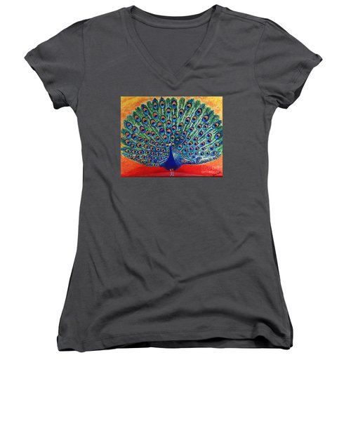 Women's V-Neck T-Shirt (Junior Cut) featuring the painting Peacock By Jasna Gopic by Jasna Gopic