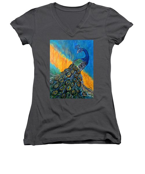 Women's V-Neck T-Shirt (Junior Cut) featuring the painting Peacock Waltz #3 by Ella Kaye Dickey