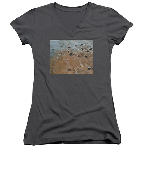 Women's V-Neck T-Shirt (Junior Cut) featuring the painting Pebbles by Cherise Foster