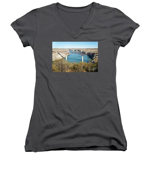 Women's V-Neck T-Shirt (Junior Cut) featuring the photograph Pecos Bridge by Erika Weber