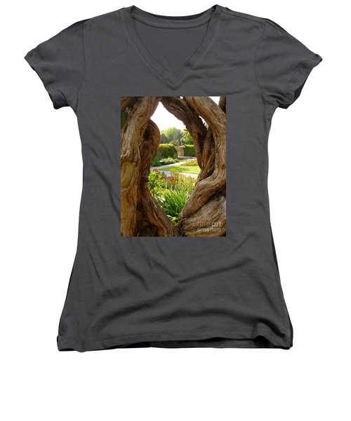 Women's V-Neck T-Shirt (Junior Cut) featuring the photograph Peek At The Garden by Vicki Spindler