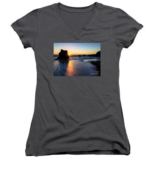 Women's V-Neck T-Shirt (Junior Cut) featuring the photograph Peeking Sun by CML Brown
