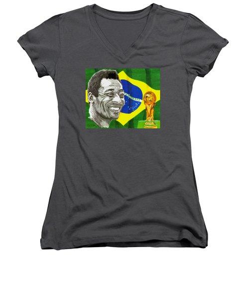 Pele Women's V-Neck T-Shirt (Junior Cut) by Cory Still