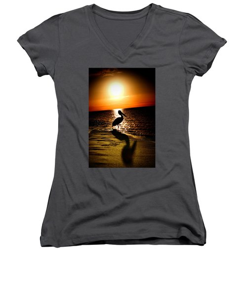 Women's V-Neck T-Shirt (Junior Cut) featuring the photograph Pelican Sunrise by Yew Kwang