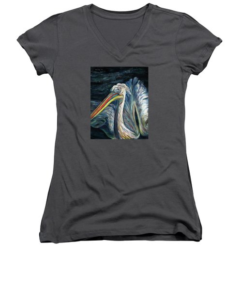 Women's V-Neck T-Shirt (Junior Cut) featuring the painting Pelican by Xueling Zou
