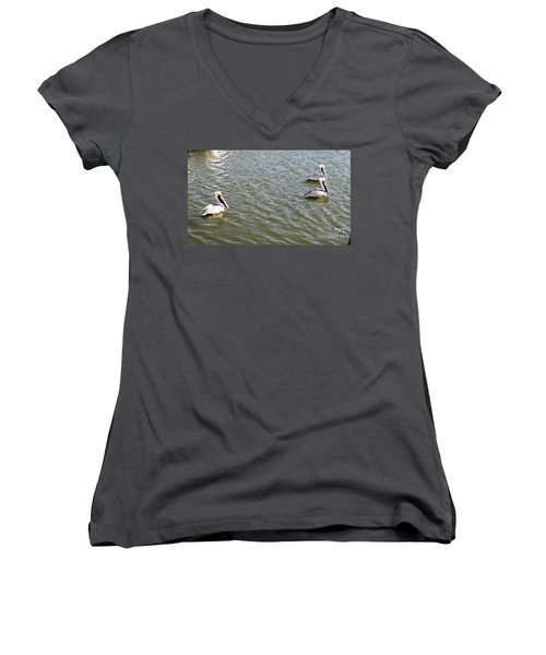 Women's V-Neck T-Shirt (Junior Cut) featuring the photograph Pelicans In Florida by Oksana Semenchenko