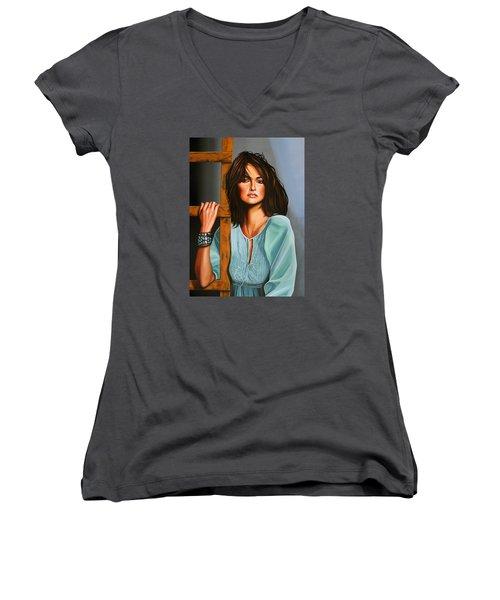 Penelope Cruz Women's V-Neck T-Shirt (Junior Cut) by Paul Meijering