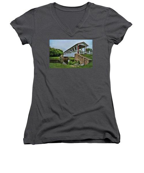 Pennsylvania Covered Bridge Women's V-Neck T-Shirt (Junior Cut) by Kathy Churchman
