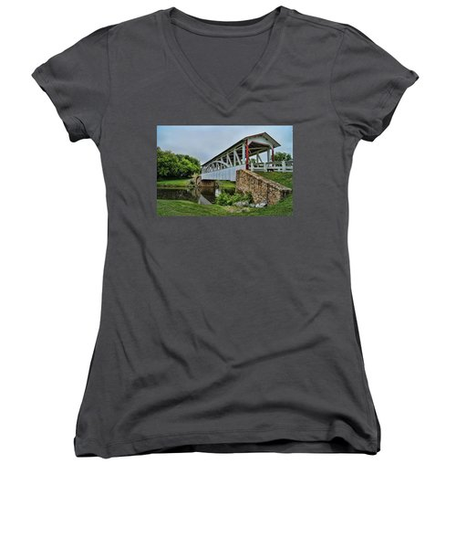 Pennsylvania Covered Bridge Women's V-Neck T-Shirt