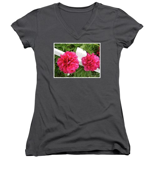 Peonies Resting On White Fence Women's V-Neck T-Shirt (Junior Cut) by Barbara Griffin