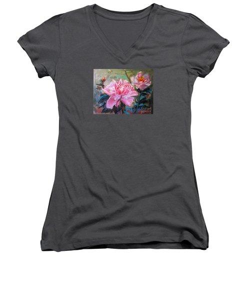 Women's V-Neck T-Shirt (Junior Cut) featuring the painting Peony by Jieming Wang
