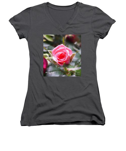 Perfect Rosebud In True Color Women's V-Neck (Athletic Fit)