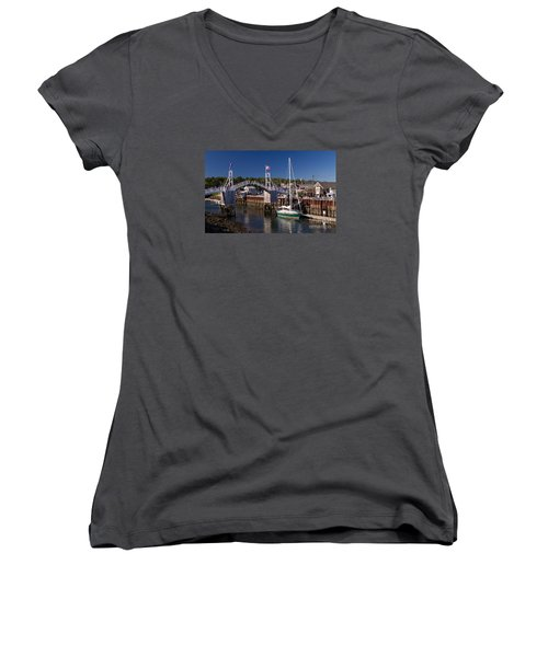 Perkins Cove Ogunquit Maine Women's V-Neck (Athletic Fit)