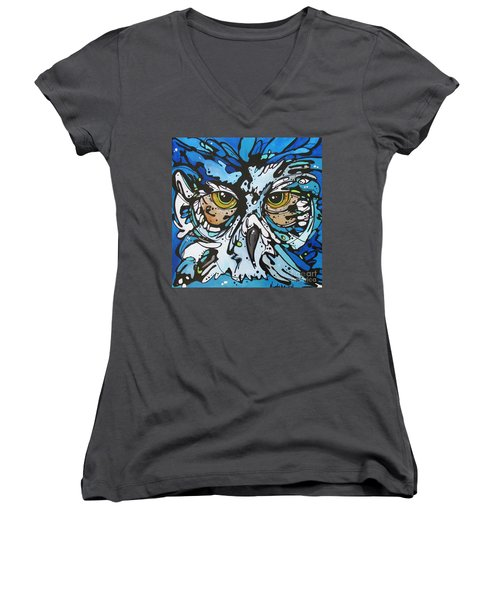 Women's V-Neck T-Shirt (Junior Cut) featuring the painting Perry by Nicole Gaitan