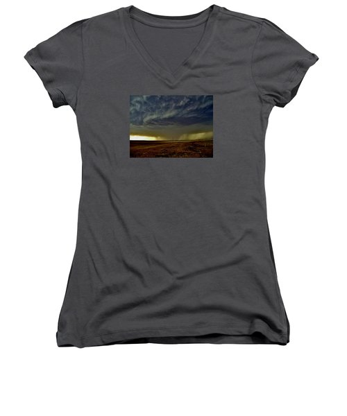 Women's V-Neck T-Shirt (Junior Cut) featuring the photograph Perryton Supercell by Ed Sweeney