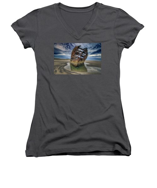 Peter Iredale At Dawn Women's V-Neck T-Shirt