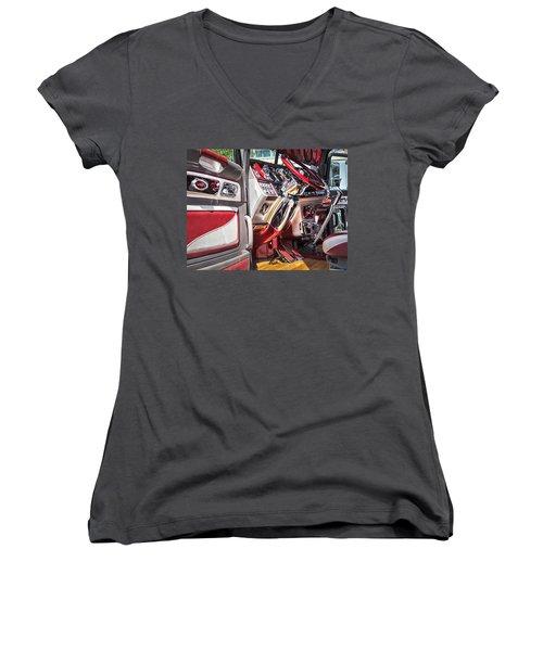 Peterbilt Interior Women's V-Neck T-Shirt (Junior Cut) by Theresa Tahara