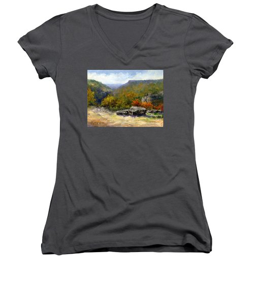 Petit Jean View From Mather Lodge Women's V-Neck T-Shirt