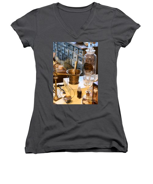 Pharmacist - Brass Mortar And Pestle Women's V-Neck T-Shirt (Junior Cut) by Paul Ward