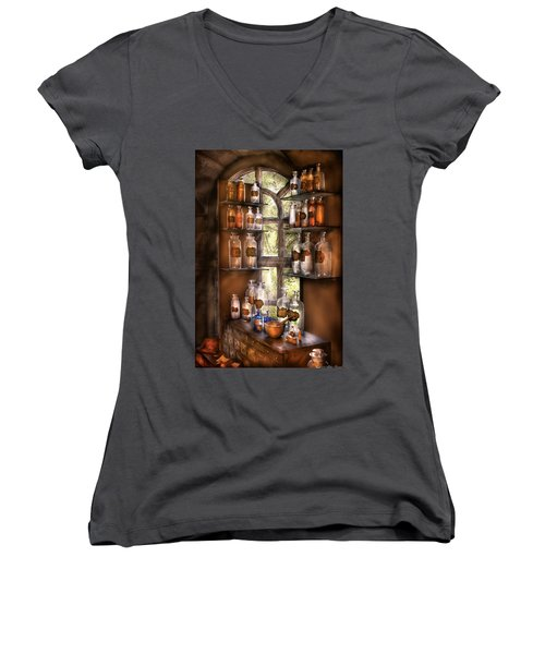 Pharmacist - Various Potions Women's V-Neck T-Shirt (Junior Cut) by Mike Savad
