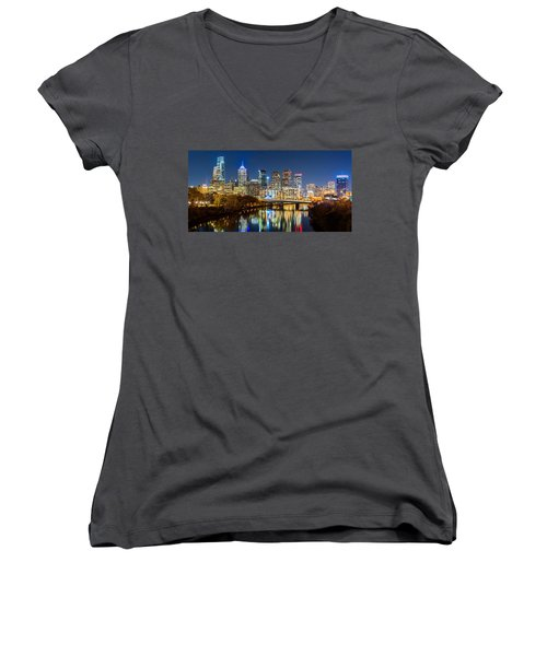 Philadelphia Cityscape Panorama By Night Women's V-Neck (Athletic Fit)