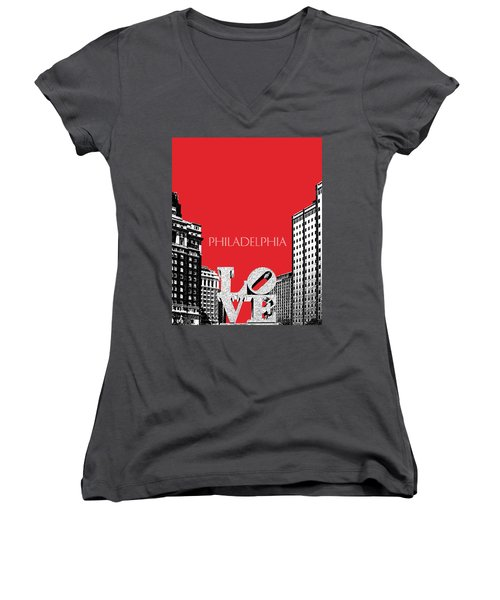 Philadelphia Skyline Love Park - Red Women's V-Neck T-Shirt